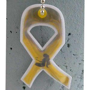 Keltainen nauha -heijastin logolla